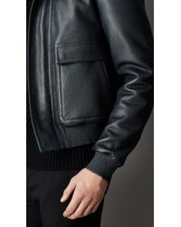 Burberry Blue Shearling Collar Leather Blouson for men