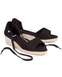 Castaner Black Caty Canvas Espadrille Wedge Sandals