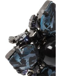 Erdem - Blue Rutheniumplated Swarovski Crystal Brooch - Lyst