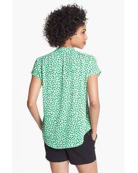 Pleione   Green Split Neck Print Blouse   Lyst