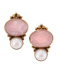 Stephen Dweck | Pink Rock Crystal Pearl Clip Earrings | Lyst