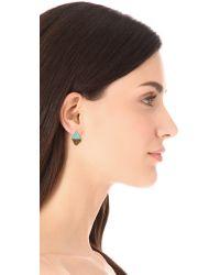 A Peace Treaty Metallic Iina Triangle Stone and Fringe Earrings
