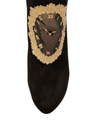 Charlotte Olympia Black On Time Clock Face Suede Ankle Boot