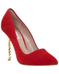 Dune Red Blazing Suede Stiletto Heel Court Shoes