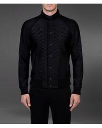 Emporio Armani Black Wool Blouson with Fur Collar for men