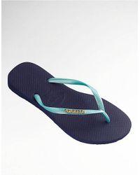 Havaianas Blue Two Tone Slim Logo Metallic Flip Flops