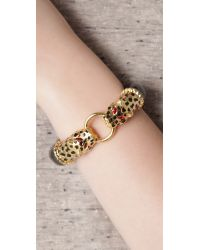 Kenneth Jay Lane - Metallic Double Leopard Head Bracelet - Lyst