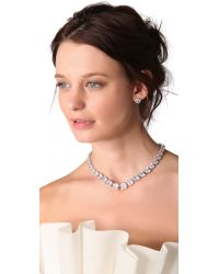 Kenneth Jay Lane Metallic Graduated Cushions Necklace - Clear