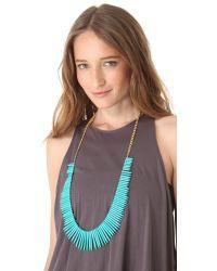 Kenneth Jay Lane Metallic Turquoise Stick Necklace