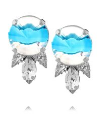 Noir Jewelry - Blue Silverplated Crystal Earrings - Lyst