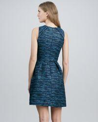 Shoshanna Blue Jewelneck Sleeveless Jacquard Dress