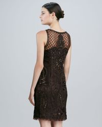 Sue Wong Black Sleeveless Embroidered Cocktail Dress