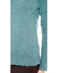 T By Alexander Wang Blue Distressed Wool Crew Neck Pullover