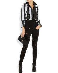 Acne Studios - White Mape Striped Leather Biker Jacket - Lyst