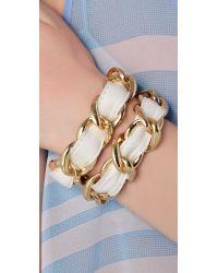 CC SKYE - White Double Wrap Woven Bracelet - Lyst