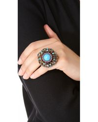 Erickson Beamon Metallic 'stratosphere' Faux Pearl Crystal Floral Cluster Ring