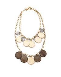Fallon | Metallic Coin Bib Necklace | Lyst