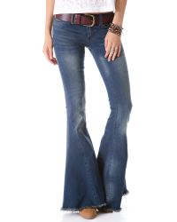 Free People Blue Super Flare Jeans