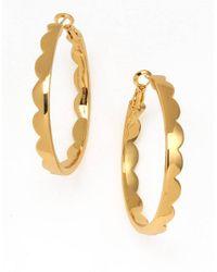 kate spade new york - Metallic Scallop Hoop Earrings - Lyst