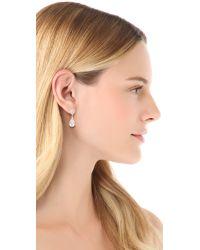 Kenneth Jay Lane Metallic Double Pear Drop Earring Clear