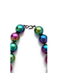 Kenneth Jay Lane Blue Rainbow Beads Necklace