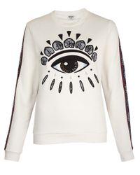 KENZO White Big Eye Taped Sleeve Sweatshirt