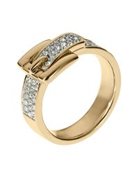 Michael Kors - Metallic Goldtone Clear Pave Buckle Ring - Lyst