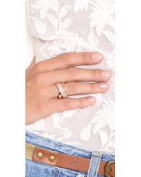 Michael Kors Metallic Pave Crisscross Ring