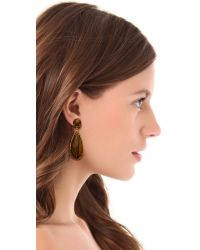 One By - Brown Crown Stone Drop Earrings - Lyst