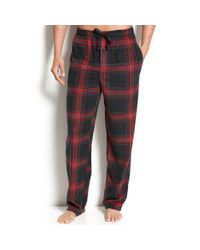 Perry Ellis | Black Plaid Fleece Pants for Men | Lyst