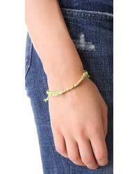 Shashi - Green Single Petit Golden Nugget Adjustable Bracelet - Lyst
