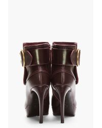 Alexander McQueen Red Burgundy Leather Twin Skull Buckled Armadillo Boots