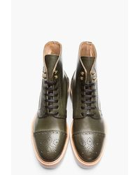 Alexander McQueen Olive Green Polished Leather Semi-brogue Boots for men