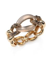 Alexis Bittar Metallic Lucite Crystal Chain Link Bangle Bracelet
