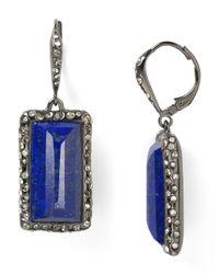 Alexis Bittar Blue Pavo Framed Lapis Baguette Leverback Earrings