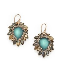 Alexis Bittar Green Lucite Semiprecious Multistone Frame Drop Earrings