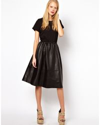 ASOS Black Midi Dress with Leather Skirt and Jersey Top