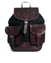 ASOS Brown Leather Festival Backpack with Tooling