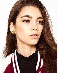 ASOS Metallic Emblem Coin Stud Earrings