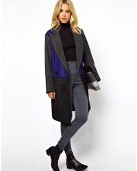 ASOS Gray Contrast Colour Block Coat