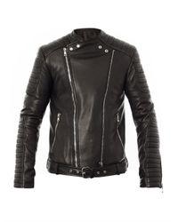 Balmain Black Quilted Leather Biker Jacket for men