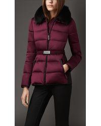 Burberry Purple Fur Trim Technical Satin Puffer Jacket