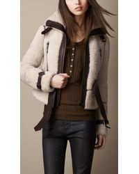 Burberry Natural Leather Trim Shearling Jacket