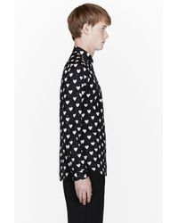 Burberry Prorsum Black Heart Print Shirt for men