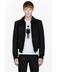 Burberry Prorsum Black Studded Collar Bomber Jacket for men