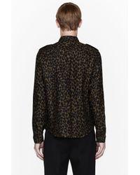 Burberry Prorsum Natural Khaki Linen Leopard Spot Military Shirt for men