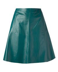 Carven Green A-Line Leather Skirt