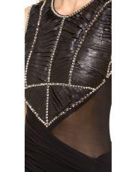 Donna Karan Black Rhinestone Embellished Slashed Leather Dress