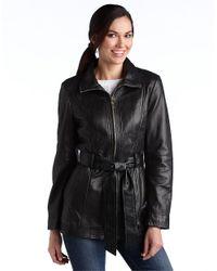Ellen Tracy Black Mini Trench Leather Jacket