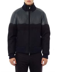 Fendi Blue Degradé Leather Wool Bomber for men